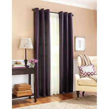 2PC PURPLE SOLID GROMMET FOAM LINED BLACK OUT LIGHT PRIVACY WINDOW CURTAIN (55)