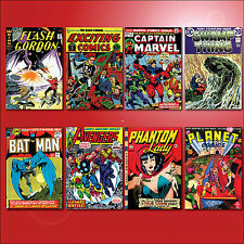 Vintage 1940's comic book covers fridge magnets set of 8