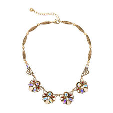 Hot Fashion Vintage Gold AB Crystals Flower Pendent Collar Necklace