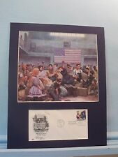 Immigrants arrive at Ellis Island & First Day Cover of the Ellis Island stamp