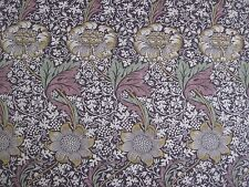 "WILLIAM MORRIS CURTAIN FABRIC ""Kennet"" 2.8 METRES GRAPE & GOLD LINEN UNION"
