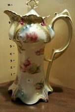 RS PRUSSIA CHOCOLATE POT Beautiful Floral Poppies & Hydrangea with Gold Stencils