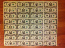 (32) UNCUT SHEET$2 1976 -RARE- Federal Reserve Notes-UNCIRCULATED-32 X 2 DOLLAR