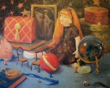 The Magic Age, dolls, toys, magic, still life, childhood Original Oil, by Aycock