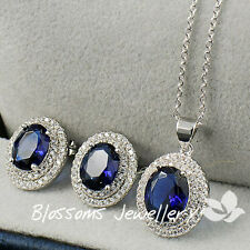 18K WHITE GOLD GF Blue Sapphire NECKLACE Earrings SET SWAROVSKI DIAMOND ES341-L