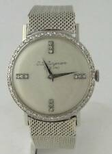 MENS VINTAGE JULES JURGENSEN 14K WHITE GOLD DIAMOND ROUND WATCH 32mm 7 1/2""