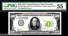 "FR 2201 D ""HIGH DENOMINATION"" $500 1934 LIGHT GREEN SEAL GRADED PMG 55!"