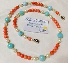 handcrafted AAA Larimar Pink Coral Freshwater Pearl necklace  925 silver