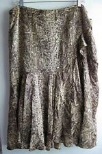 BIANCA NYGARD NWT ANIMAL PRINT BROWN RUFFLE ADORNED 100% SILK SKIRT SZ 16