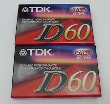 NEW TDK D60 Cassette Tape High Output 60 min New and Factory Sealed - 2 pack