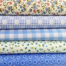 Fat Quarters Fabric Bundles BLUE BLENDER Craft Flowers Gingham Bunting Polkadot