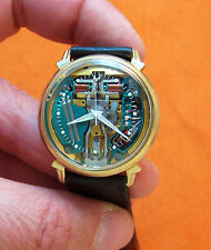 SERVICED 214 ACCUTRON SPACEVIEW 10KT GOLD FILLED TUNING FORK MEN'S WATCH M6