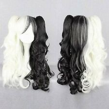 New black white long curly cosplay full wigs + 2 Ponytai +Hairnet