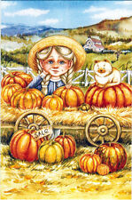 Scene from country life: GIRL AND CAT SELL PUMPKINS Modern Russian card
