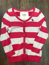 Womens Abercrombie & Fitch Coral Cream Striped Button Front Cardigan - Size L