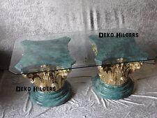 Couchtisch Glastisch Tisch Säule Wohnzimmertisch Marmorierte Optik Säulen Fa130