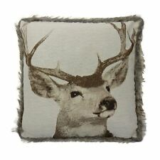 2 X LUXURIOUS FUR TRIM REINDEER STAG BEIGE COTTON TAPESTRY CUSHION COVERS 17""