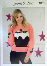 "James Brett Christmas DK knitting pattern Ladies Jumper 32"" - 42""  JB 271"