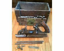 Antique STANLEY No. 45 Combination Plane Wood Shaper Cutter 13 Blades And Box