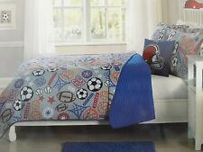 3 pc Kids Expressions Sport Express Twin Quilt, Sham & Deco Pillow Set NIP
