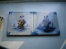 Two Delft Dutch coloured blue white pottery tiles Sail ships 20thC no3