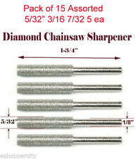 "15x 5/32"" 3/16 7/32 Diamond Chainsaw Sharpener Burr Stone Round File For Dremel"
