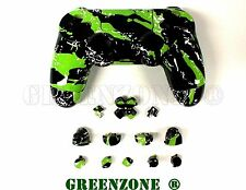 Éclaboussures vert remplacement personnalisé ps4 controller hydro dipped full shell mod kit