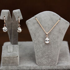 One Set Fashion Jewelry 18K Rose Gold Filled Crystal TearDrop Earrings Necklace