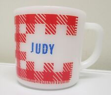 """Vintage Federal Glass Coffee Mug Cup """"Judy"""" Red Check Plaid Pattern D Handle Old"""