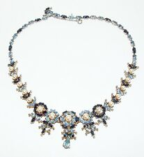 CHRISTIAN DIOR Mitchell Maer Sapphire & Blue Crystals Faux Pearls Necklace
