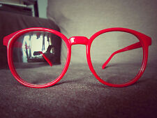 Red Round Oversized Retro Geek Nerd fashion Glasses 60s 80s