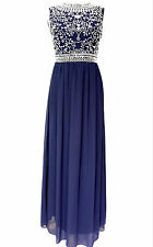 Blue Maxi Dress Gem Sequin Embellished Bridesmaid Party Prom Gown SIZE 16
