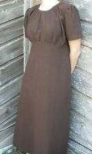 Ladies dress modest full regency style brown crushed cotton long L 14 16