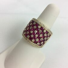 EFFY 14K YELLOW GOLD DIAMOND RUBIES WIDE RING SIZE 6