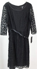 Dana Kay Women's Lace Ballet Dress with Ribbon Belt, Black, 14 {NR6 XF-R