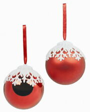 Weiste Red Christmas Christmas Tree baubles with Snowflake Top set of 2    23487