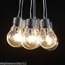 Oversized Light Bulb Chrome Cluster Chandelier With Adjustable Cables - NEW