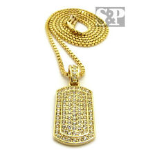 "Hip Hop Iced Out Mini Army Gold Plated CZ Dog Tag Pendant 24"" Box Chain Necklace"