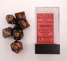 Chessex 7 Dice Set Scarab Blue Blood w Gold Chx 27419 for D&D & D20