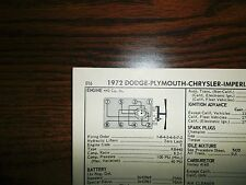 1972 Dodge Plymouth Chrysler Imperial 225 HP 440 SUN Tune Up Chart Great Shape!