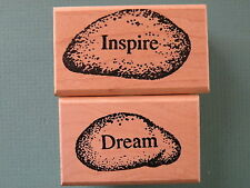 DREAM and INSPIRE Rocks Set of (2) THE MOON ROSE Rubber Stamps