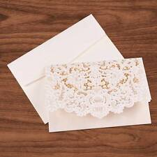 White Wedding Invitation Card Personalized Laser Cut  Romantic Party Floral Lace