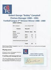 BOBBY CAMPBELL CHELSEA MANAGER 1988-1991 RARE ORIGINAL HAND SIGNED CUTTING/CARD