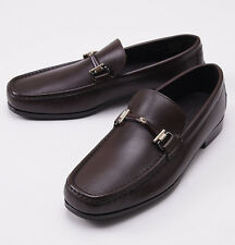 NIB $695 ERMENEGILDO ZEGNA Chocolate Brown Leather Bit Loafers US 9 D Shoes