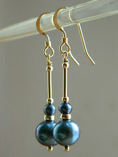 Peacock Navy Blue Freshwater Pearls A Grade beads &14K Rolled Gold Drop Earrings
