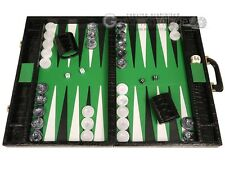 "Marcello de Modena Leather Backgammon Set - 21"" Croco Black Board, Green Field"