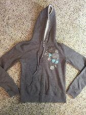 Women's BILLABONG zip front hoodie hooded sweatshirt size S Tan Floral Logo KD7