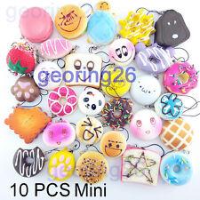 10PCS Mini Random Squishy Soft Panda/Bread/Donut/Buns/Macaroon Phone Straps