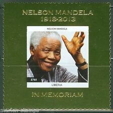LIBERIA  2014  NELSON MANDELA MEMORIAL GOLD FOIL SOUVENIR  SHEET  MINT NH