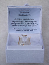 Unique CHRISTENING Angel GIFT Box@22KT Gold Present@PERSONALISED Verse@DATE Set